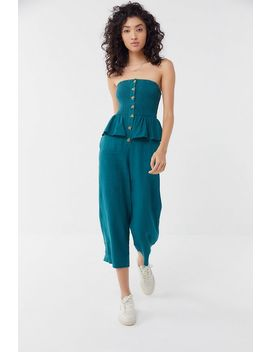 Uo San Fernando Smocked Strapless Ruffle Jumpsuit by Urban Outfitters
