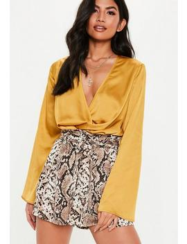 Yellow Satin Wrap Bodysuit by Missguided