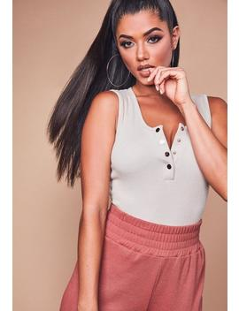 Petite Sand Ribbed Sleeveless Popper Bodysuit by Missguided