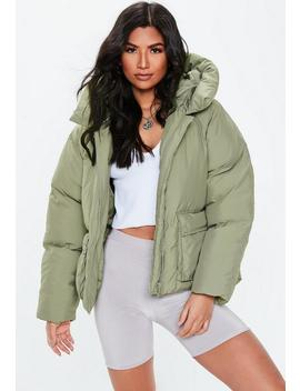 Petite Green Oversized Hooded Ultimate Puffer Jacket by Missguided