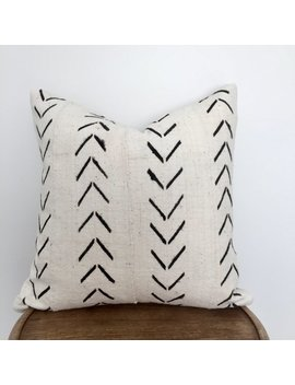 """African Mudcloth Pillow Cushion Cover 50cmx50cm (20""""X20"""") White With Black Arrow Pattern by Etsy"""