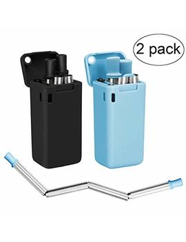 Senneny 2 Pack Collapsible Reusable Drinking Straws Stainless Steel Premium Food Grade Folding Drinking Straws Keychain Portable Set With Hard Case Holder & Cleaning Brush (Black & Blue) by Senneny