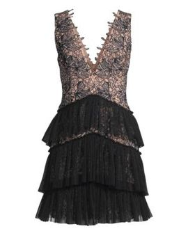 Sleeveless V Neck Tiered Lace Dress by Bcbgmaxazria