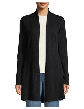 Cashmere Open Front Flared Cardigan, Black by Neiman Marcus Cashmere Collection