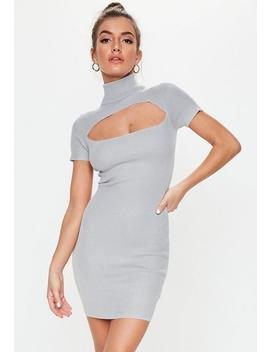 Grey Knitted Cut Out Rib Dress by Missguided