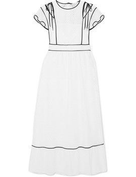 Cutout Ruffled Broderie Anglaise Woven Dress by Red Valentino
