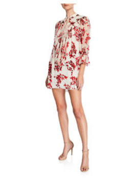 Danika Tie Neck Gathered Velvet Burnout Dress by Alice + Olivia