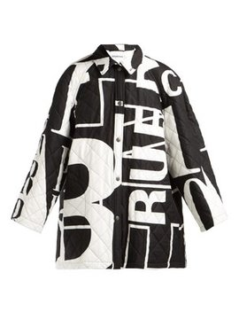Logo Printed Quilted Cotton Coat by Balenciaga