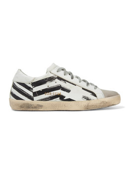 Superstar Distressed Printed Leather And Suede Sneakers by Golden Goose Deluxe Brand