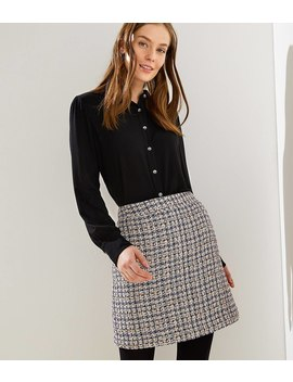 Checked Tweed Shift Skirt by Loft