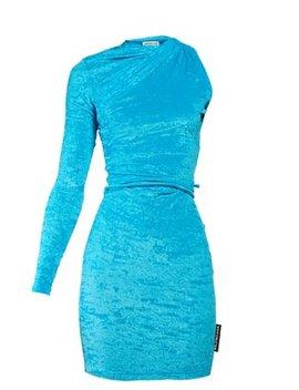 Asymmetric Crushed Velvet Mini Dress by Balenciaga