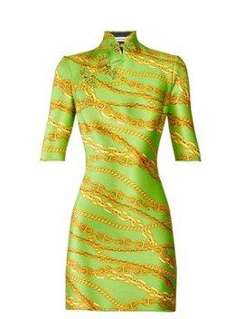 Chain Print Mandarin Collar Mini Dress by Balenciaga