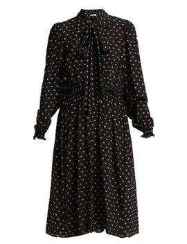 Reverence Bb Print Tie Neck Silk Dress by Balenciaga