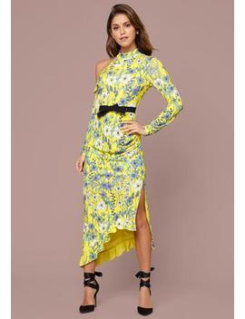 Adley Print Ruffled Dress by Bebe