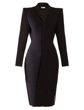 Structured Single Breasted Pinstriped Twill Coat by Balenciaga