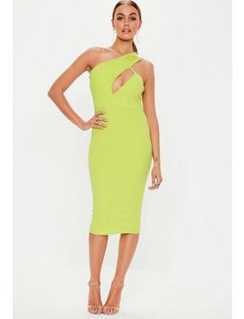 Neon Lime One Shoulder Midi Dress by Missguided