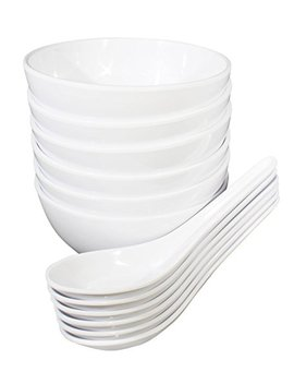 Chef Miso Set Of 6 Extra Small Melamine Rice Bowls And Spoons   White 10 Ounce by Chef Miso