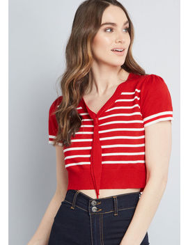 Nautical Option Cropped Sweater by Banned