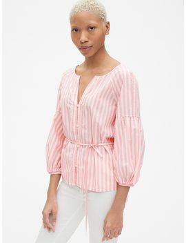 balloon-sleeve-stripe-button-down-blouse-in-poplin by gap