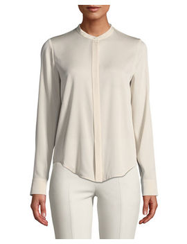 Banded Collar Stretch Silk Blouse by Vince