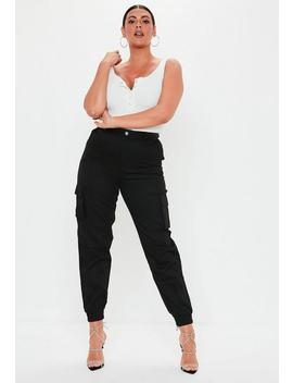 Plus Size Black Plain Cargo Pants by Missguided