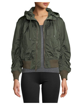 Hooded Zip Front Bomber Jacket by Vince
