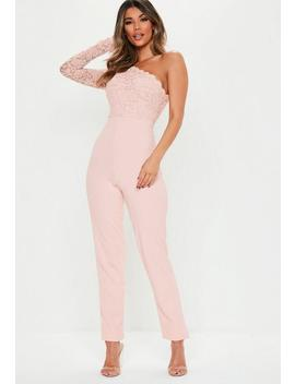 Pink One Shoulder Lace Jumpsuit by Missguided