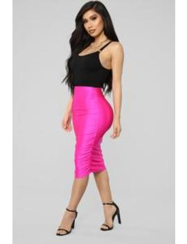 Curves For Days Ruched Skirt   Hot Pink by Fashion Nova
