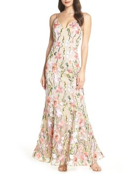 Floral Embroidered Evening Dress by Sequin Hearts