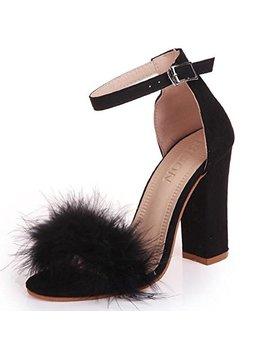 Ying Lan Women Fluffy Faux Fur Ankle Strap Open Toe Stiletto Party Dress High Heel Shoes Sandal by Ying Lan