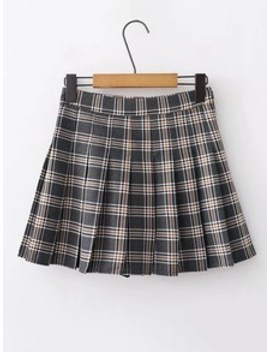 Plaid Pleated Skirt by Sheinside
