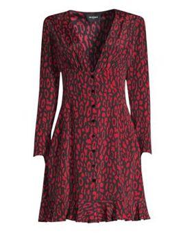 Animal Print A Line Silk Dress by The Kooples