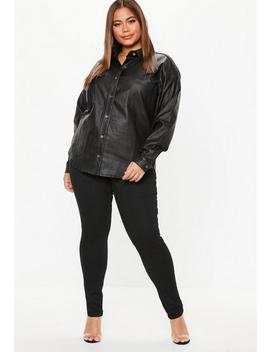 Plus Size Black Coated Oversized Shirt by Missguided