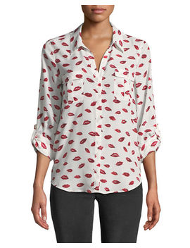 Booker High Low Printed Lip Shirt by Joie