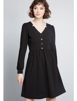 Noted Notches Long Sleeve Dress by Modcloth
