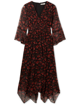 Caden Asymmetric Floral Print Silk Crepon Midi Dress by Rachel Zoe