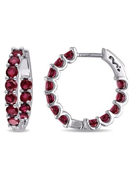 Miadora Sterling Silver Created Ruby Hoop Earrings by Miadora