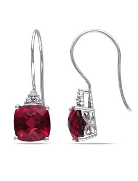 Miadora 10k White Gold Diamond And Created Ruby Earrings by Miadora