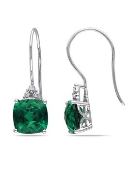 Miadora 10k Gold 5 2/5ct Tgw Created Emerald And Diamond Accent Earrings by Miadora