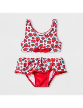 Toddler Girls' 2pc Tie Front Bikini Set   Cat & Jack™ Red by Cat & Jack