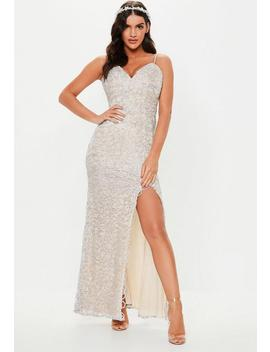 Bridesmaid Silver Embellished Plunge Maxi Dress by Missguided