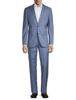 Trim Fit Plaid Wool Suit by Saks Fifth Avenue