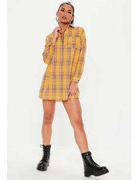 Petite Yellow Oversized Zip Front Shirt Dress by Missguided
