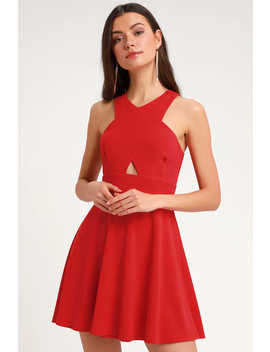 So Sophisticated Red Cutout Skater Dress by Lulus