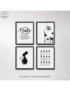 Nail Salon Decor Set Of 4 Wall Art Prints, Digital Download Nail Salon Printables Posters, Nail Salon Quotes Wall Art For Instant Download by Etsy