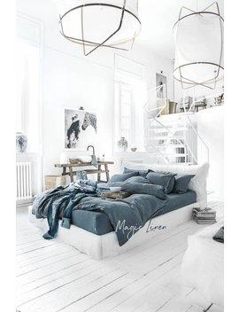 Linen Duvet Cover In Gray Blue. Custom Linen Bedding. King, Queen Sizes. by Etsy