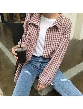 Dressnalda   Drop Shoulder Plaid Shirt by Dressnalda