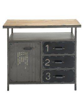 Metal Utility Cabinet With Wood Top Steel Gray   Olivia & May by Olivia & May