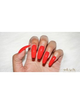 Coral Press On Nails | Faux Nails | Fake Nails | Coffin, Stiletto, Almond, Round, Square by Etsy