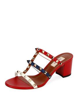 Valentino Garavani Rockstud Caged 60mm Colorblock Slide Sandals by Valentino Garavani